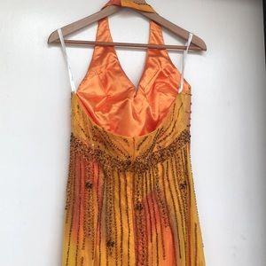 bicici Dresses - Bicici beaded halter sunset color ruffle dress